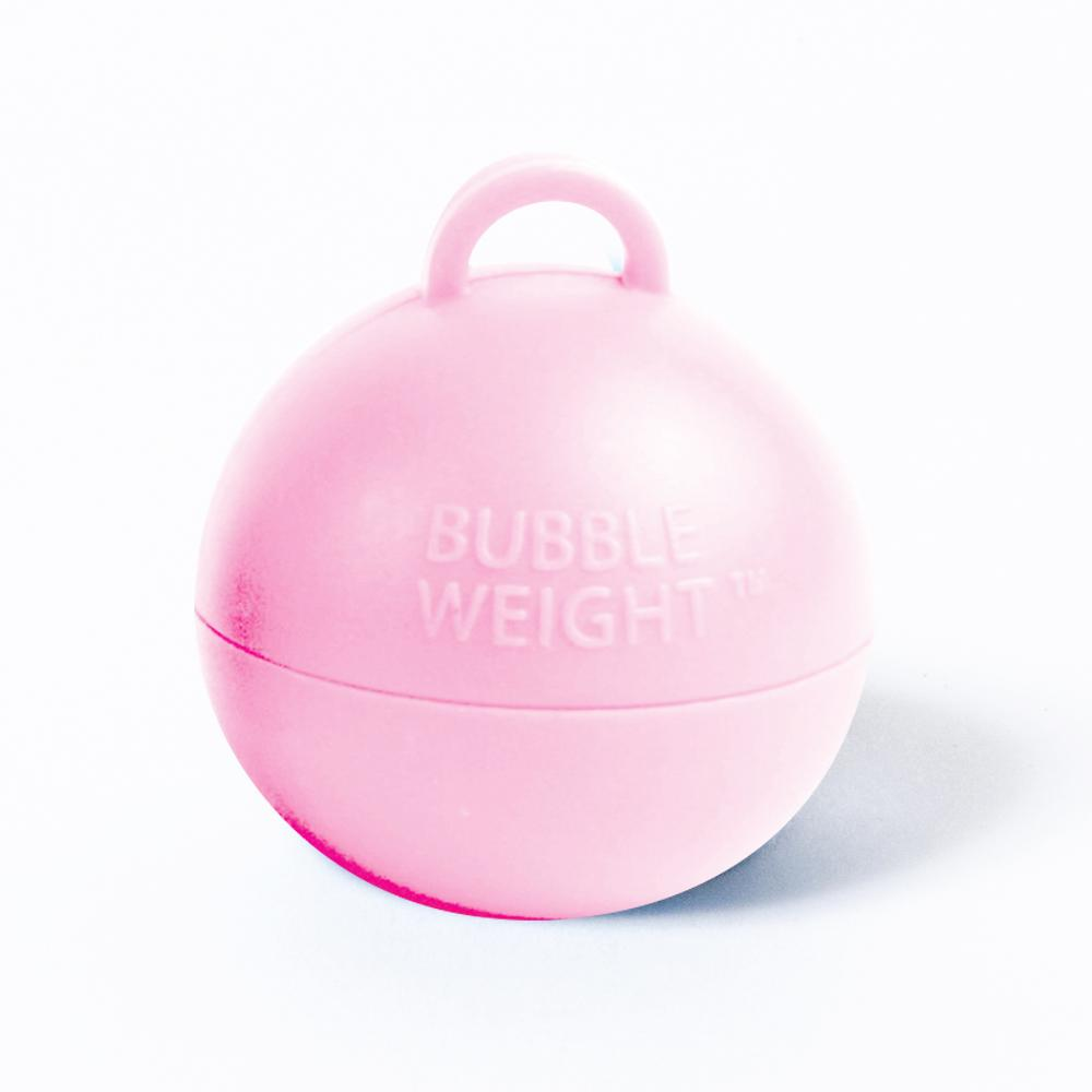 A round, pink-coloured balloon weight