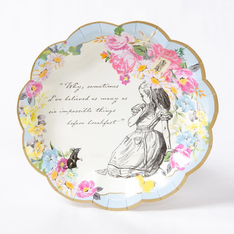 An Alice in Wonderland-themed party plate with a scalloped edge