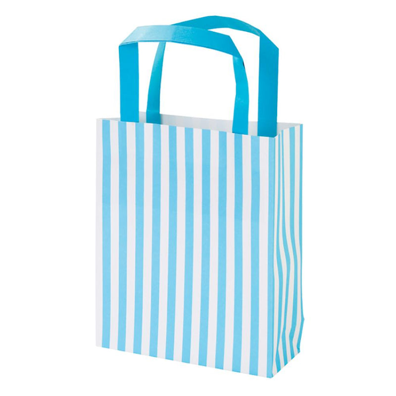 A stripey, blue and white, paper party bag with a blue handle