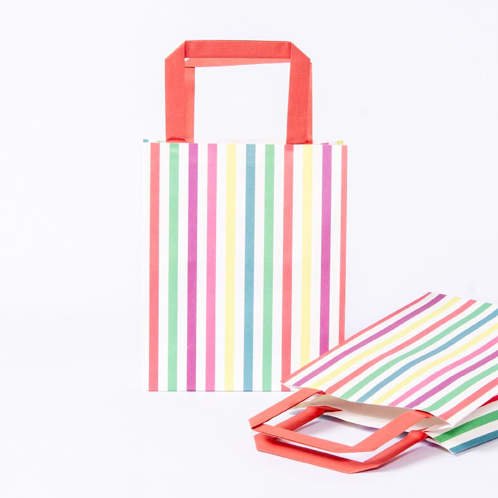 2 party bags with stripy coloured designs