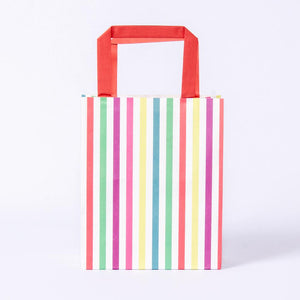 Colourful Striped Paper Party Bags (x8)