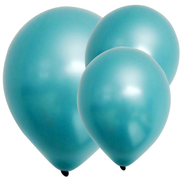 Latex Balloons Metallic Aqua Blue (x8)