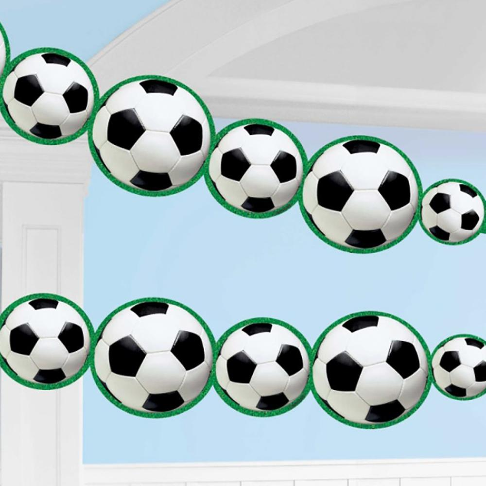 A football garland featuring lots of football shapes on a long string