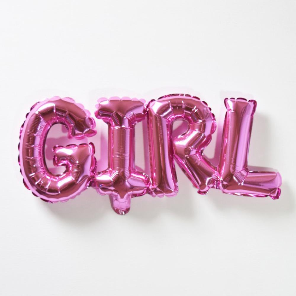 GIRL Air Filled Foil Phrase Balloon Bunting Pink (each)