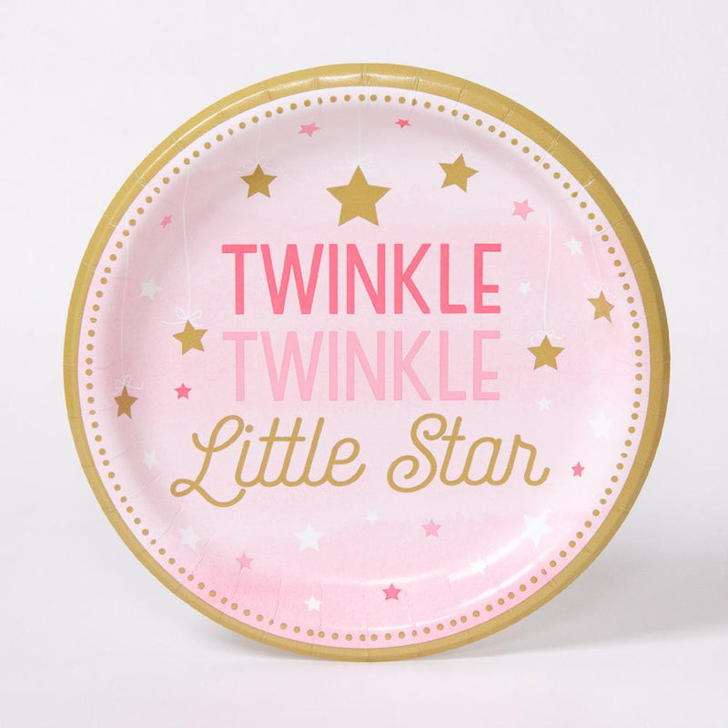 "A round pink pastel party plate with a ""Twinkle Little Star"" phrase for a 1st birthday"