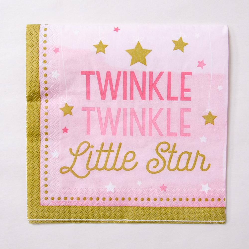 "A pastel pink party napkin with a ""Twinkle Twinkle Little Star"" phrase for a 1st birthday"
