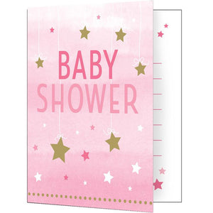 One Little Star Pink Baby Shower Invitations (x8)
