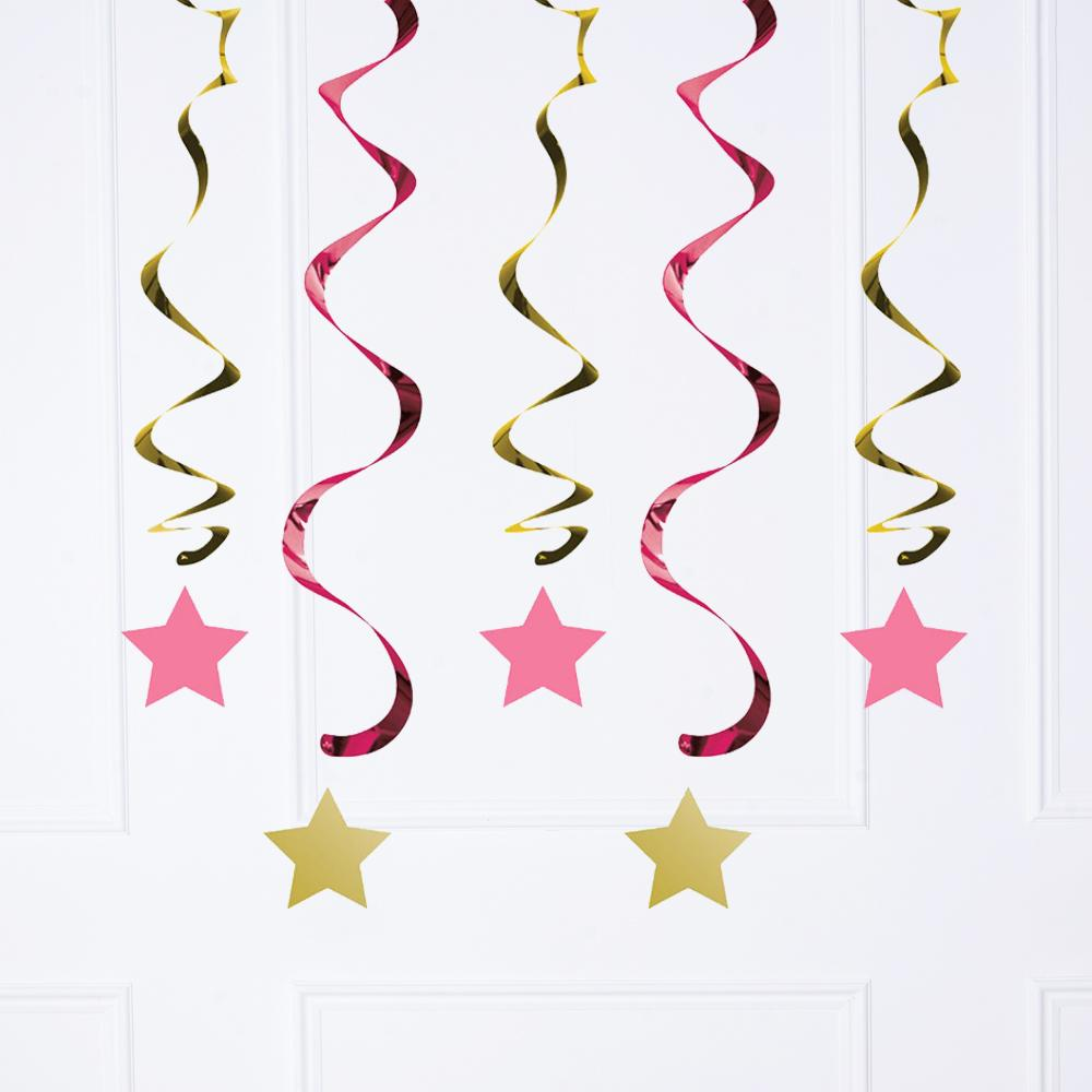 5 dangling ceiling decorations with a pink and gold foil star design
