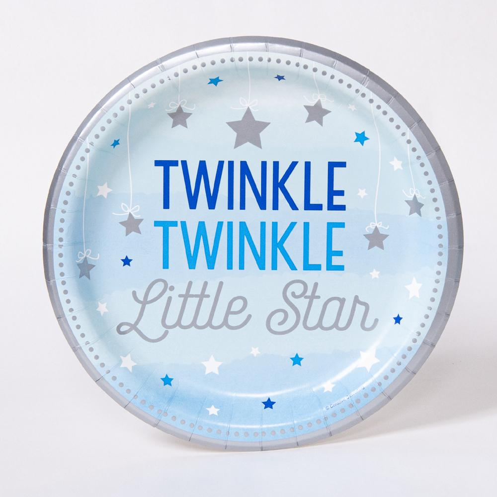 "A round, pastel blue party plate with the phrases ""twinkle twinkle little star"""