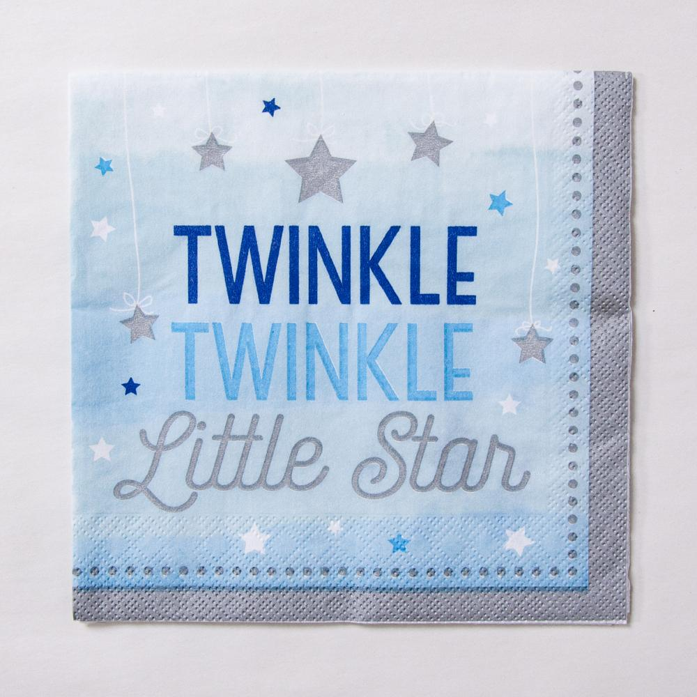 "A first birthday party napkin with a pastel blue design and ""Twinkle Twinkle Little Star"" phrase"