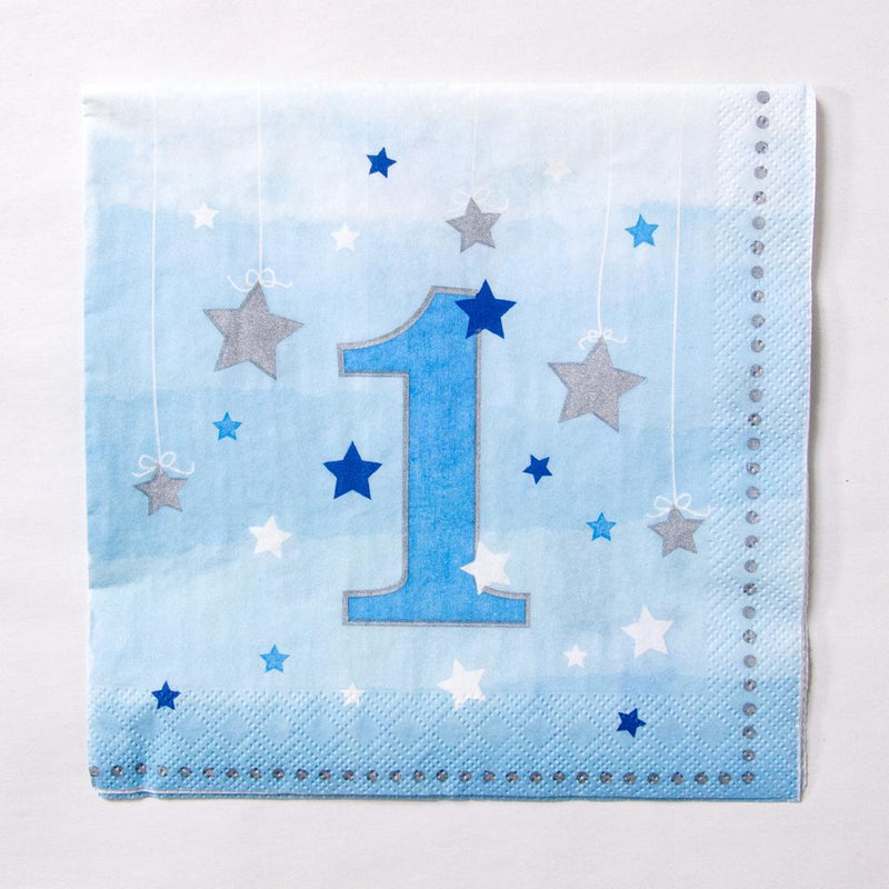 A pastel blue 1st birthday napkin with a number 1 and glittery star design