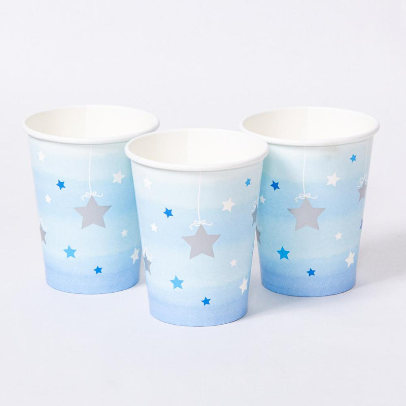 3 pastel blue party cups with shimmery silver stars for a 1st birthday