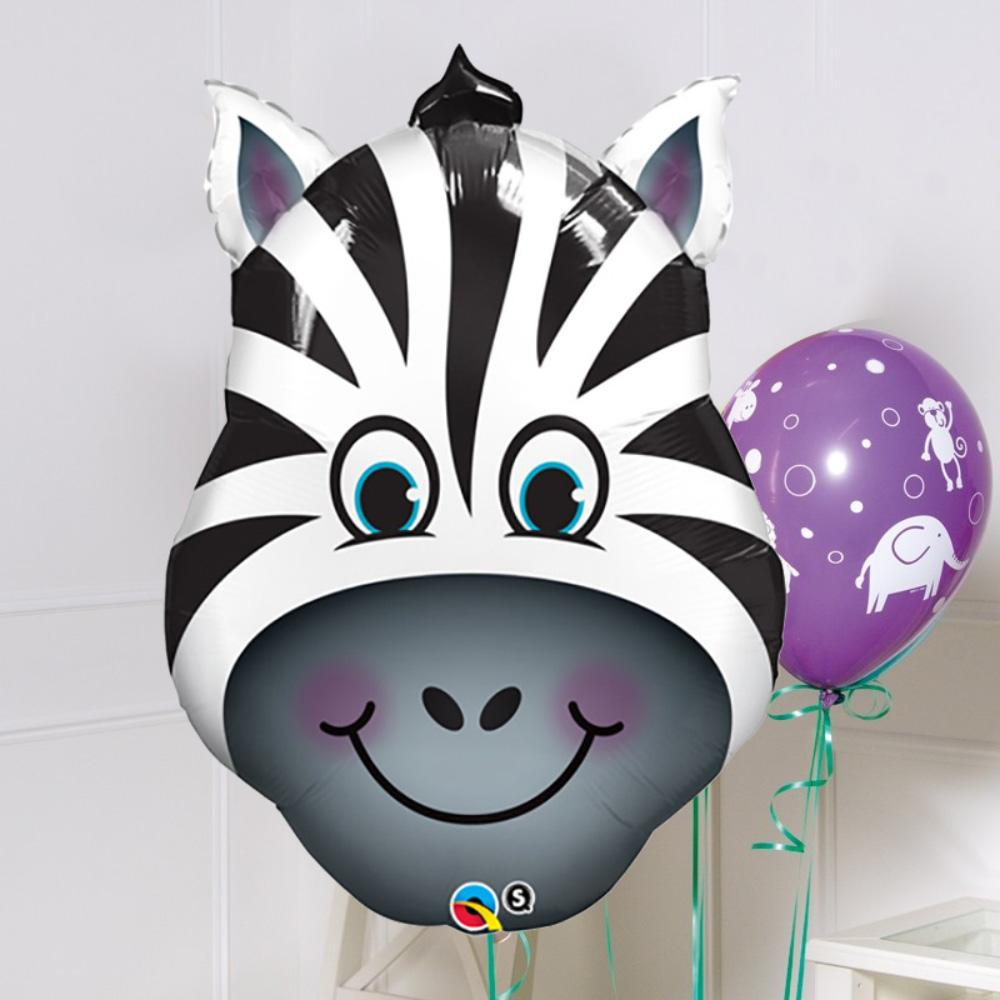 Supershape Smiling Zebra Helium Balloon 32""