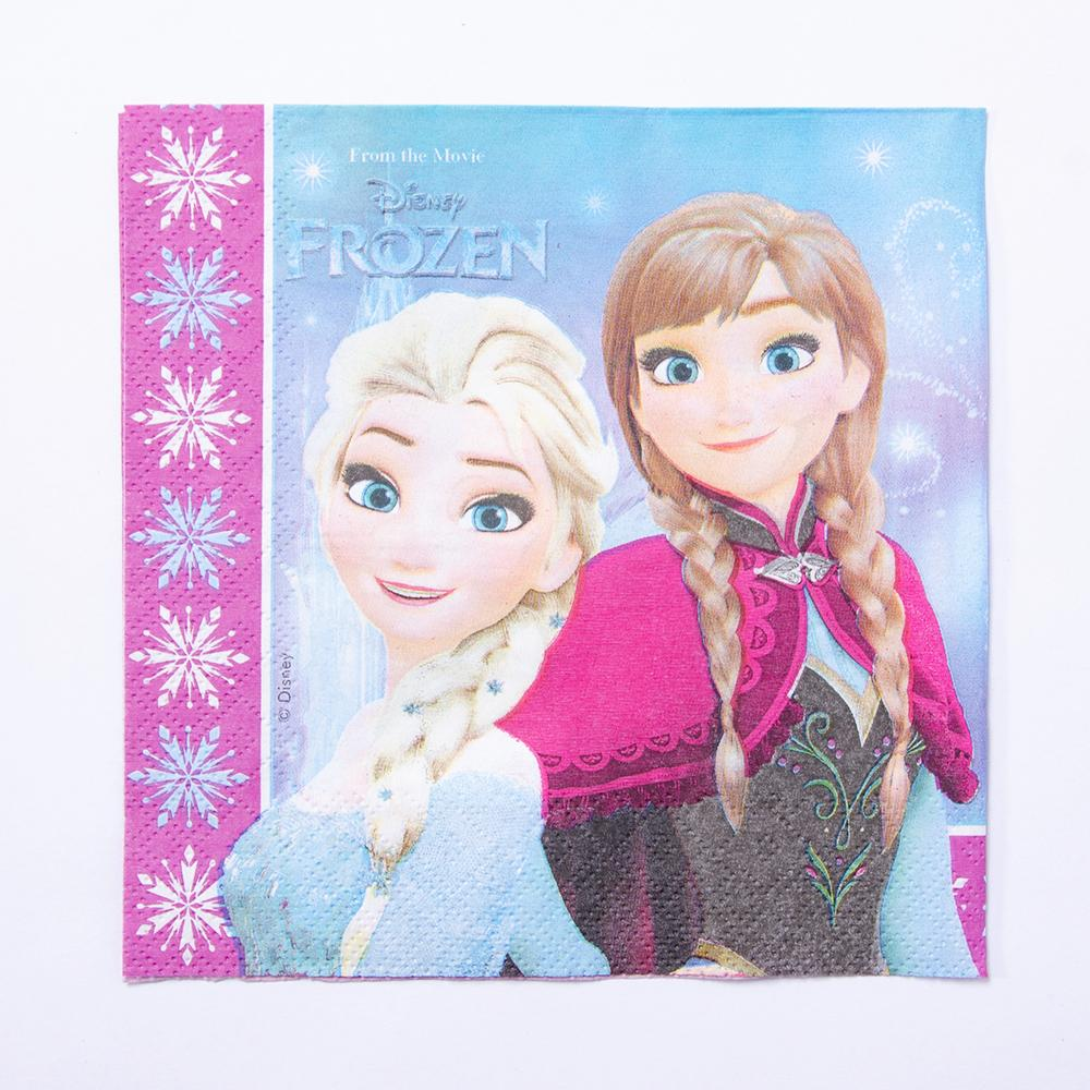 A party napkin with Anna and Elsa from Disney's Frozen