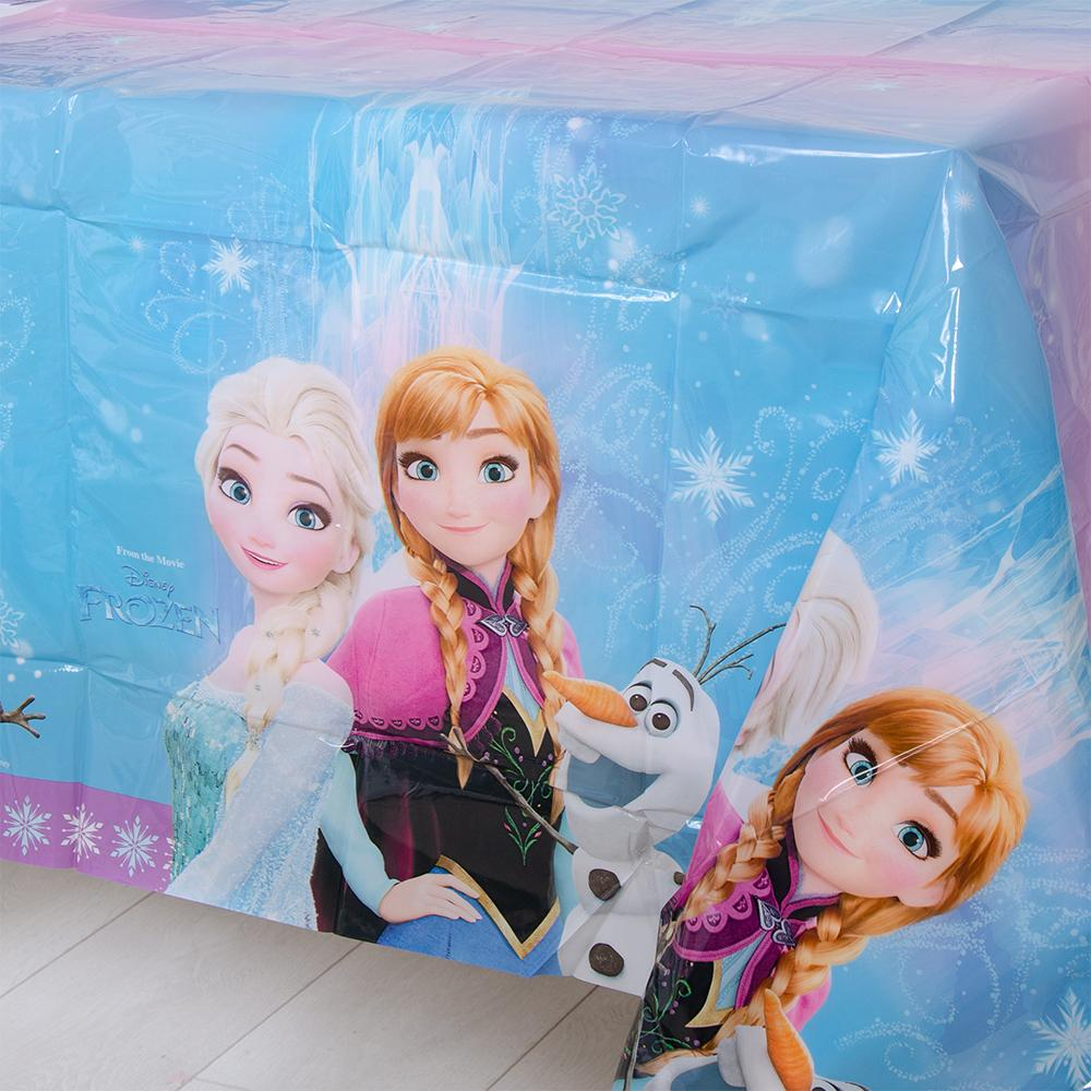 A party table cover featuring characters from Disney's film Frozen