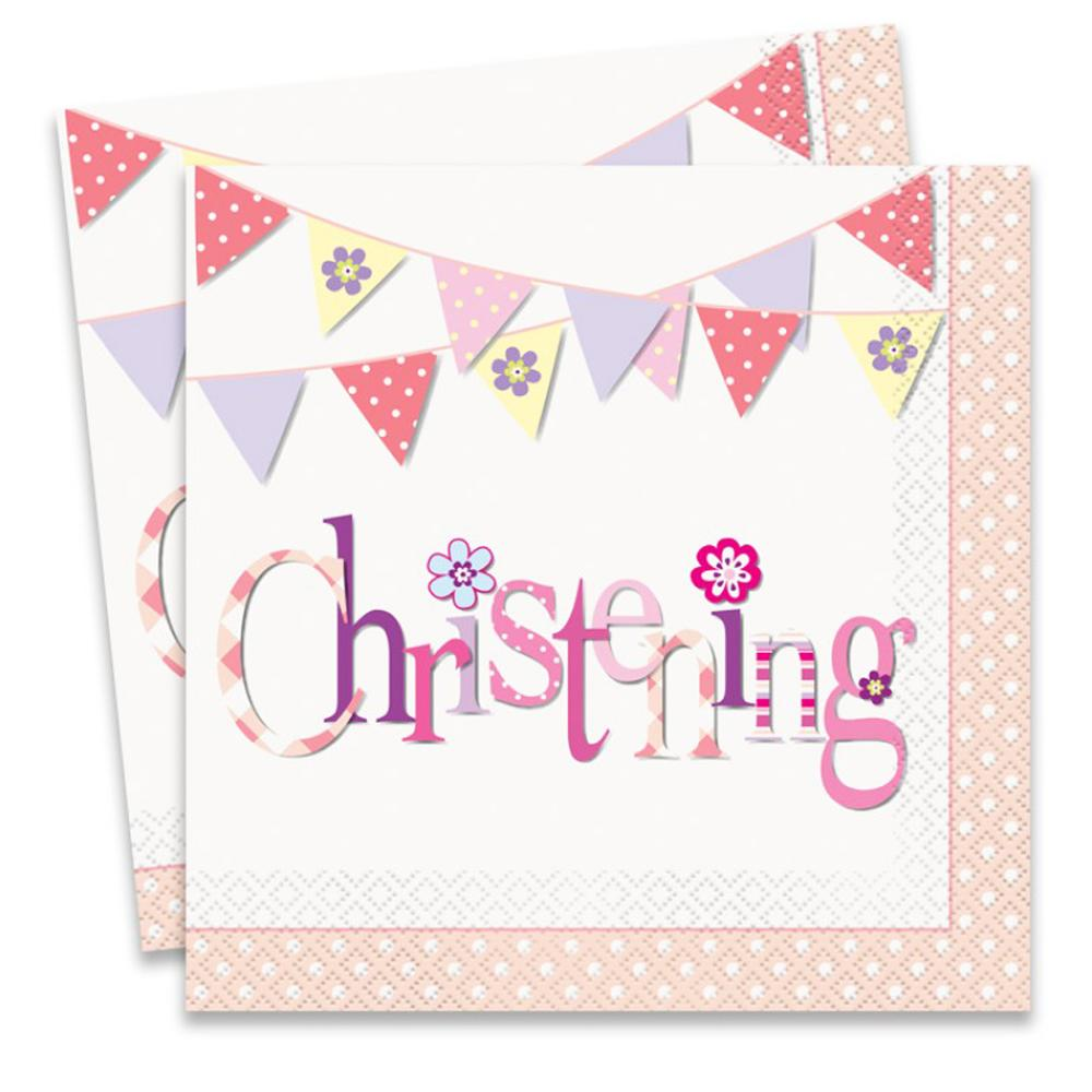 2 pink christening party napkins with pink garland design
