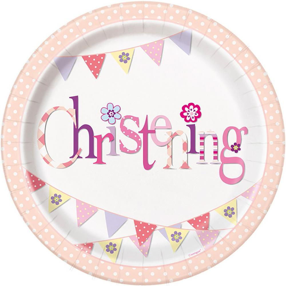 A round pink christening party plate with garland design
