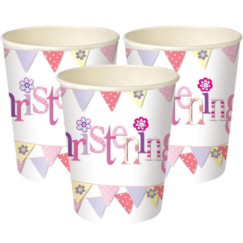 3 Christening party cups with a pink garland design