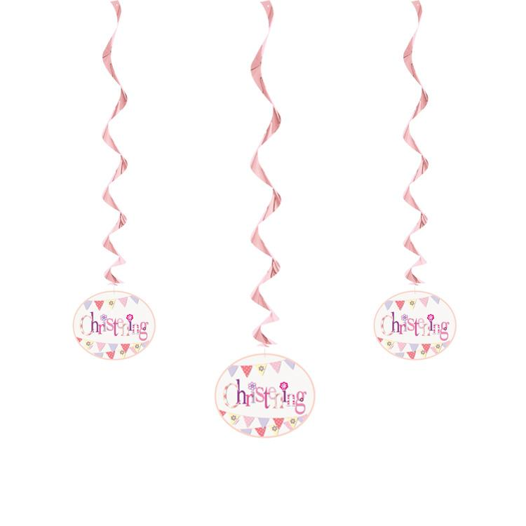Christening Pink Bunting Party Ceiling Decorations (x3)