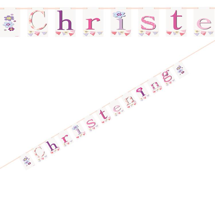 Christening Pink Bunting Party Banner
