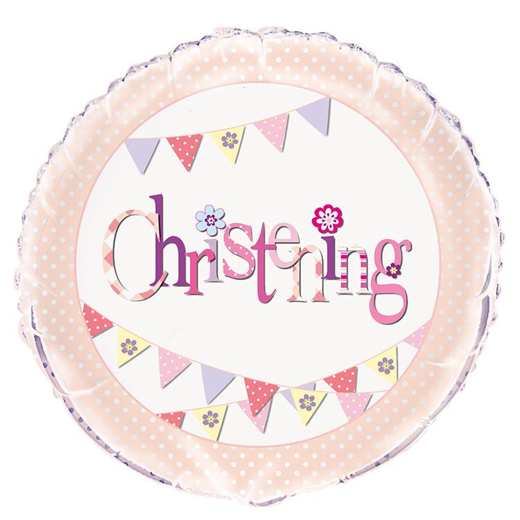 Christening Pink Bunting Party Helium Balloon