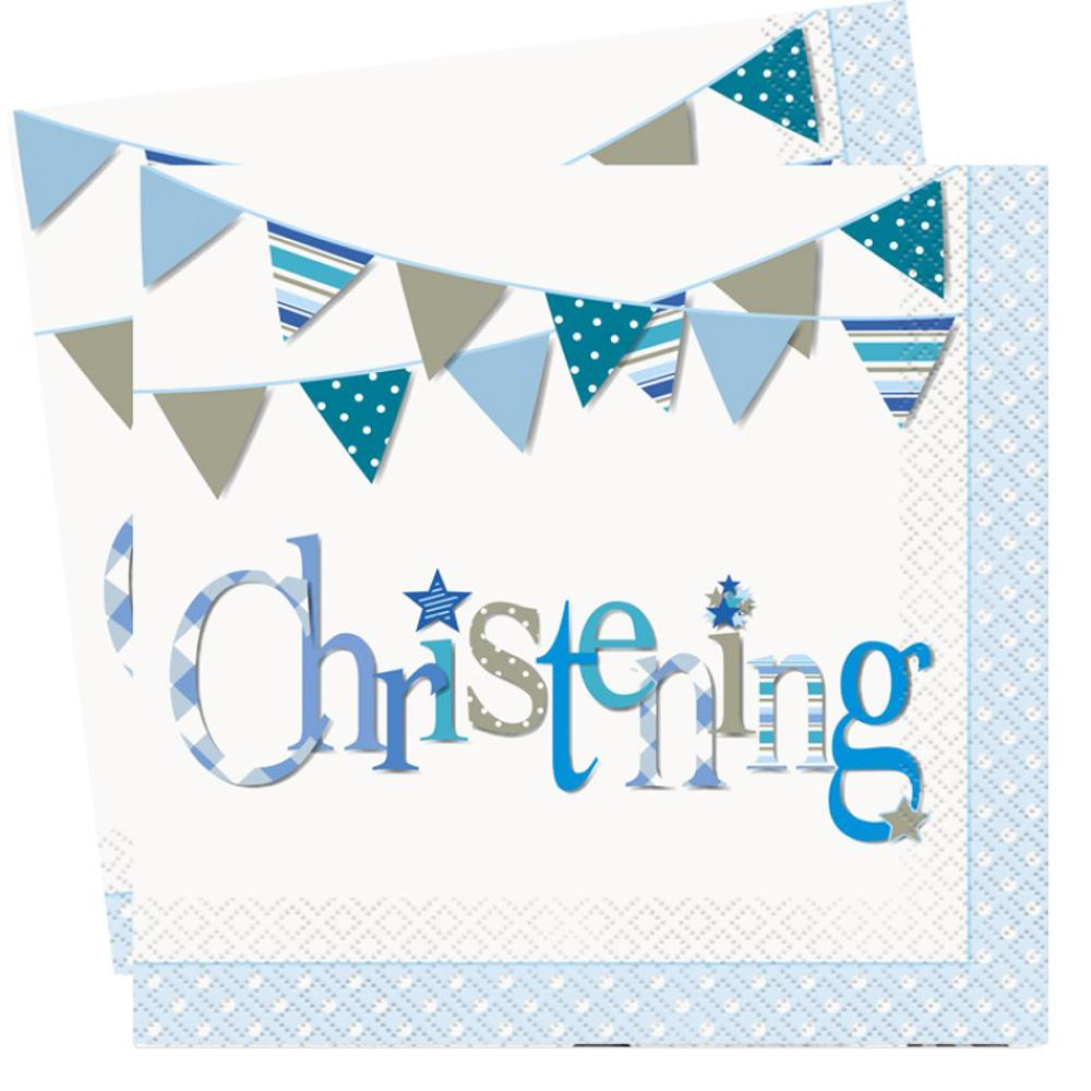 2 blue christening party napkins with blue garland design