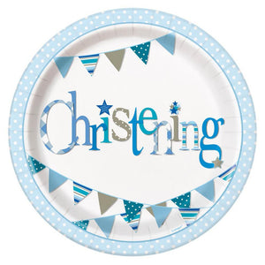 A round christening party plate with a blue garland design