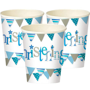 3 Christening party cups with a blue garland design
