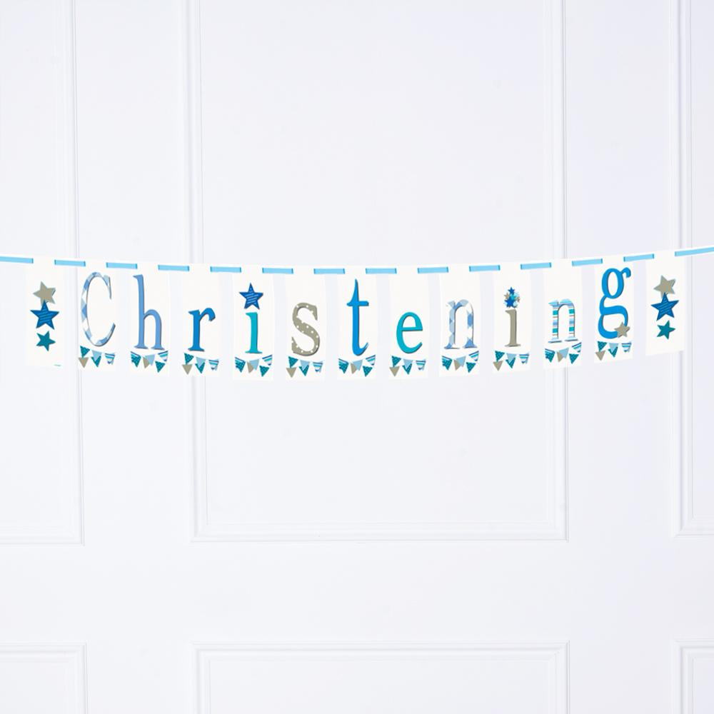 A blue christening party banner with blue stars