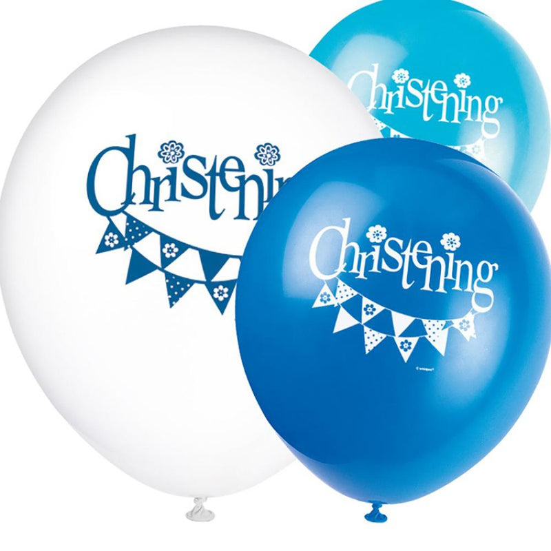 A bunch of 3 balloons with a garland print and Christening lettering
