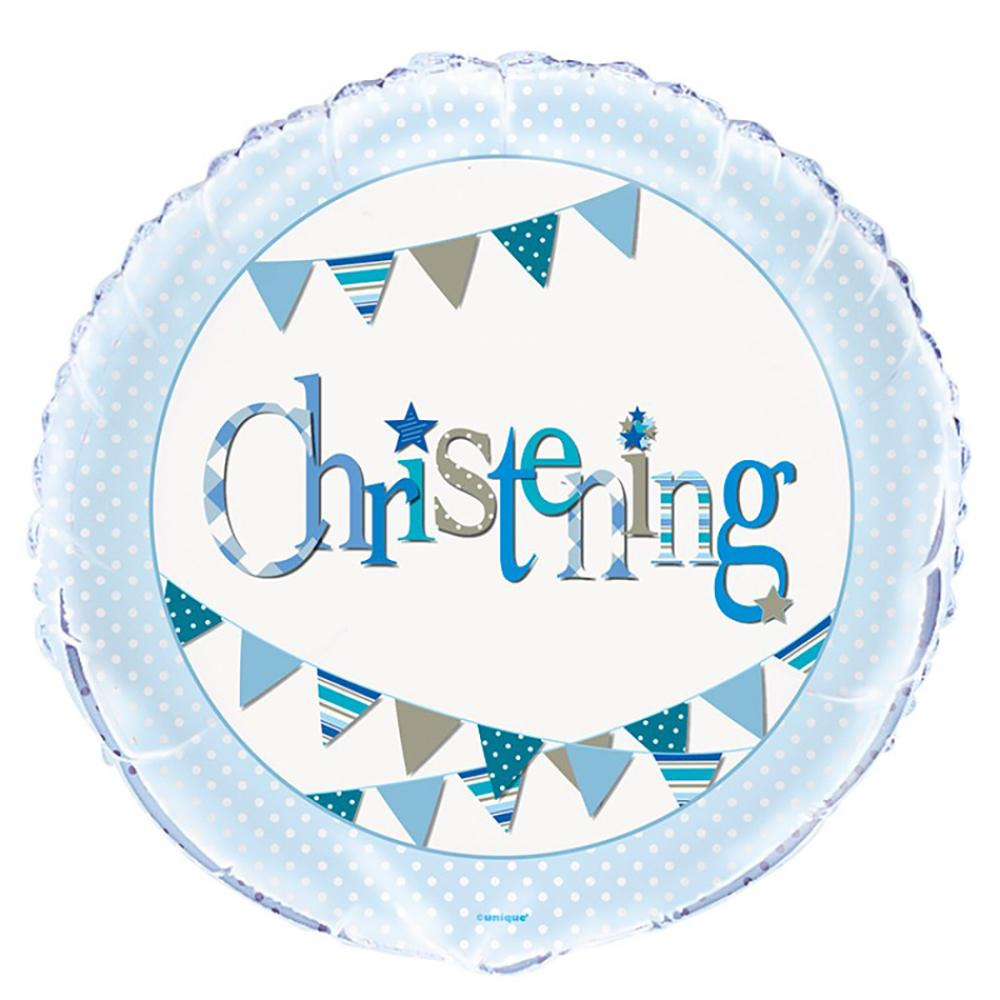 A round helium foil balloon with a blue garland design and pale blue trim