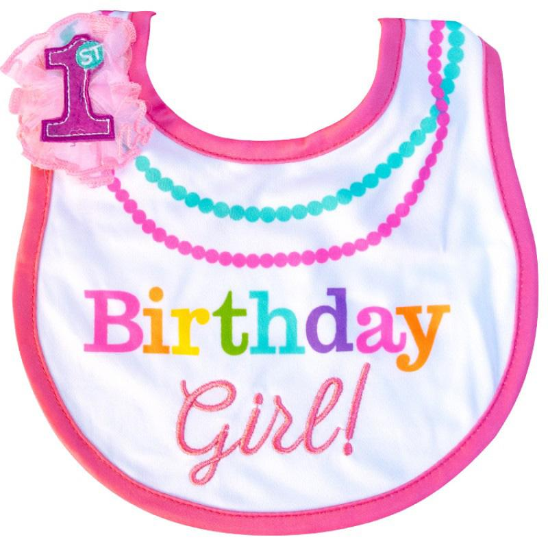Rainbow First Birthday Fabric Girl Bib