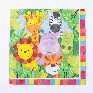 A jungle party-themed napkin with a cartoon animals design