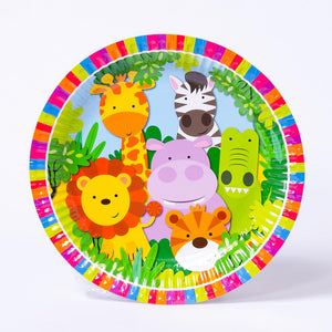 A round plate with a colourful rim and jungle animals design