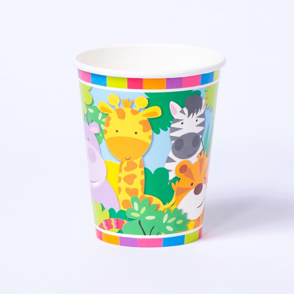 A colourful paper party cup with a jungle-animal design