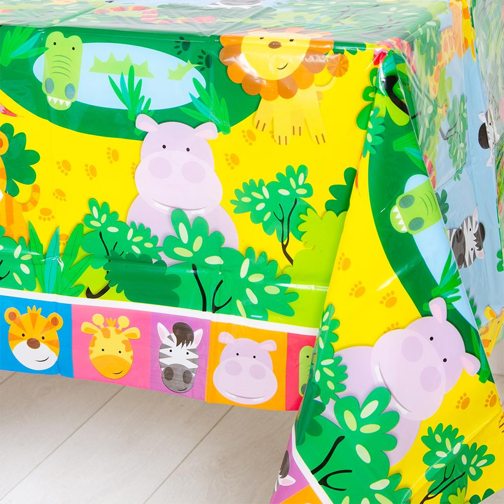 A party table cover with a fun, colourful jungle animal design