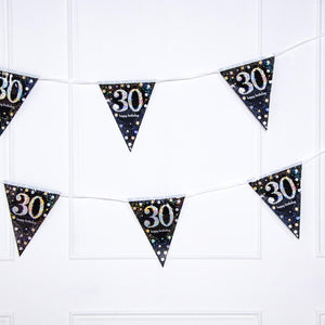 30th Birthday Gold Celebration Foil Flag Banner