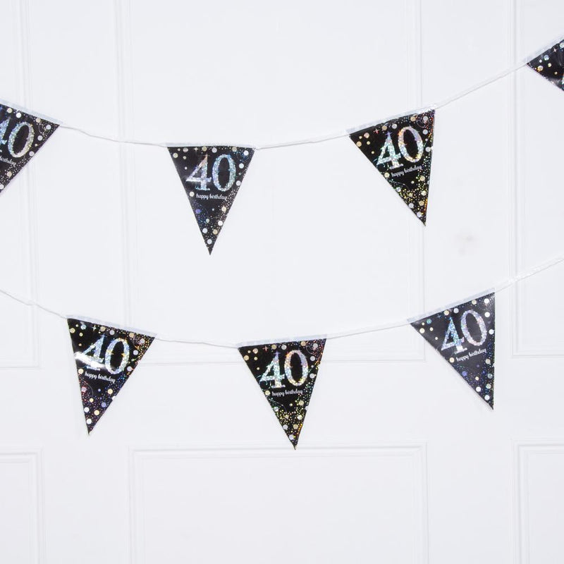 40th Birthday Gold Celebration Foil Flag Banner