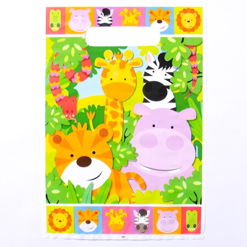 A jungle animal party bag with cute jungle cartoons