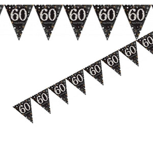 A 60th birthday flag banner with a stylish black, silver, and gold design