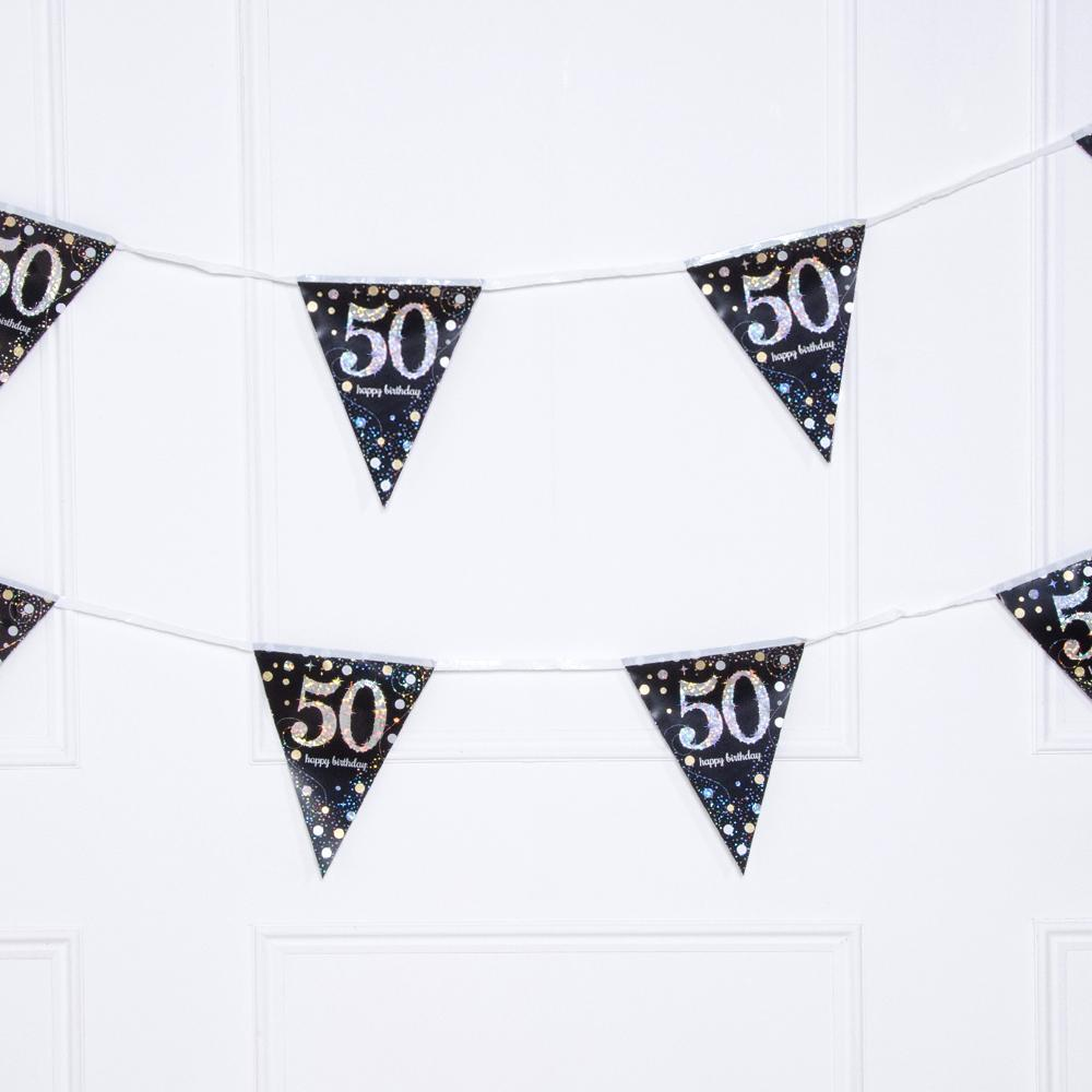 50th Birthday Gold Celebration Foil Flag Banner