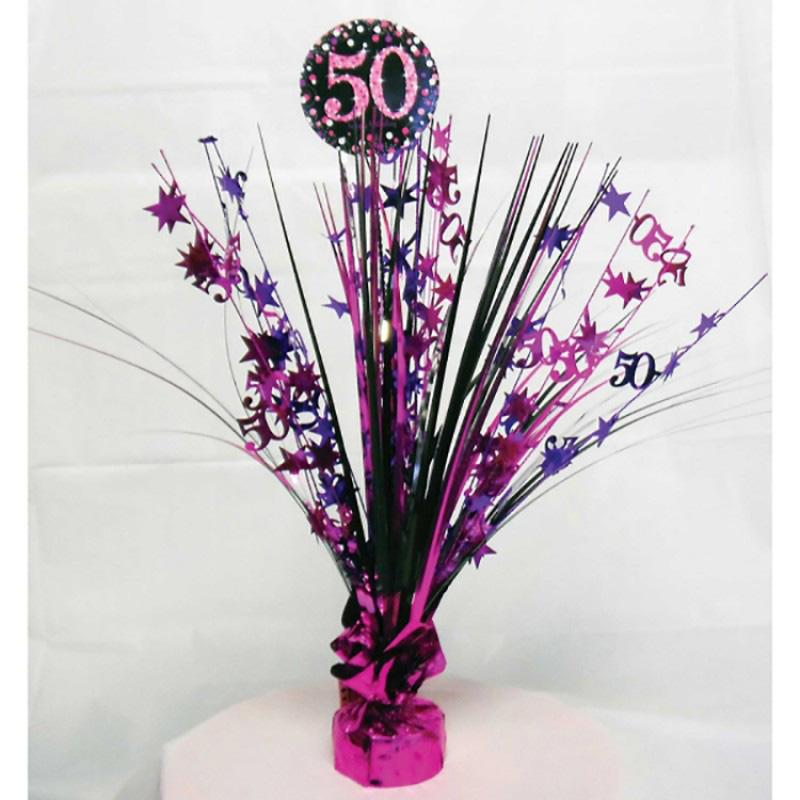 50th Birthday Pink Celebration Spray Centrepiece