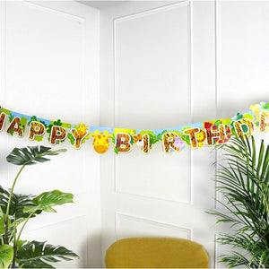 "A jungle-themed birthday banner with a ""Happy Birthday"" greeting"