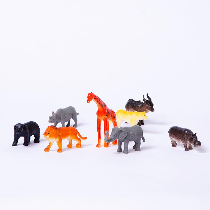 A collection of jungle animal toys