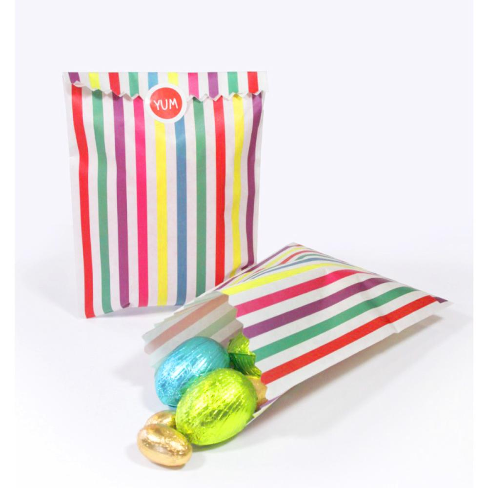 A pair of stripey, colourful party bags filled with sweets