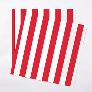 A pair of stripy red and white paper party napkins