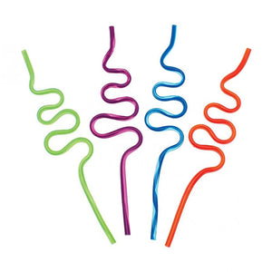 A set of 4 wiggly straws in different colours