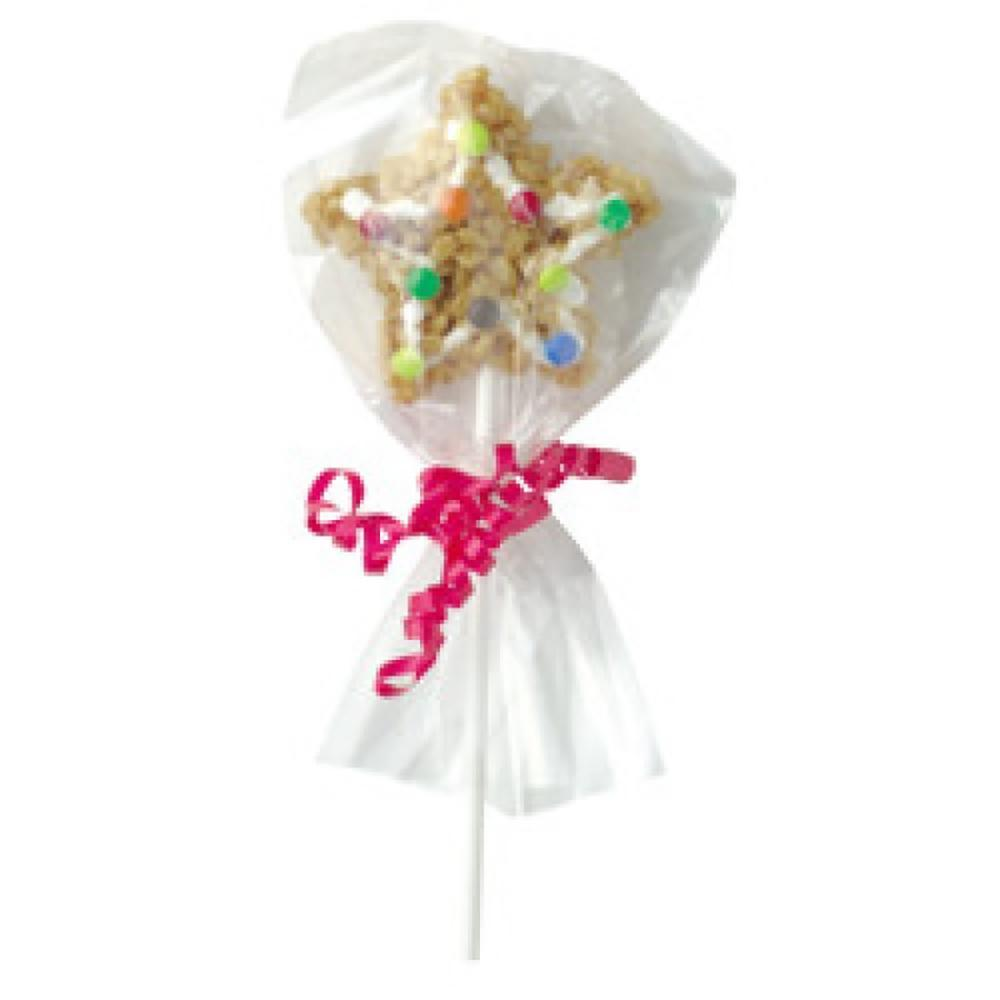 A cookie lollypop covered in a clear plastic cello bag and pink ribbon
