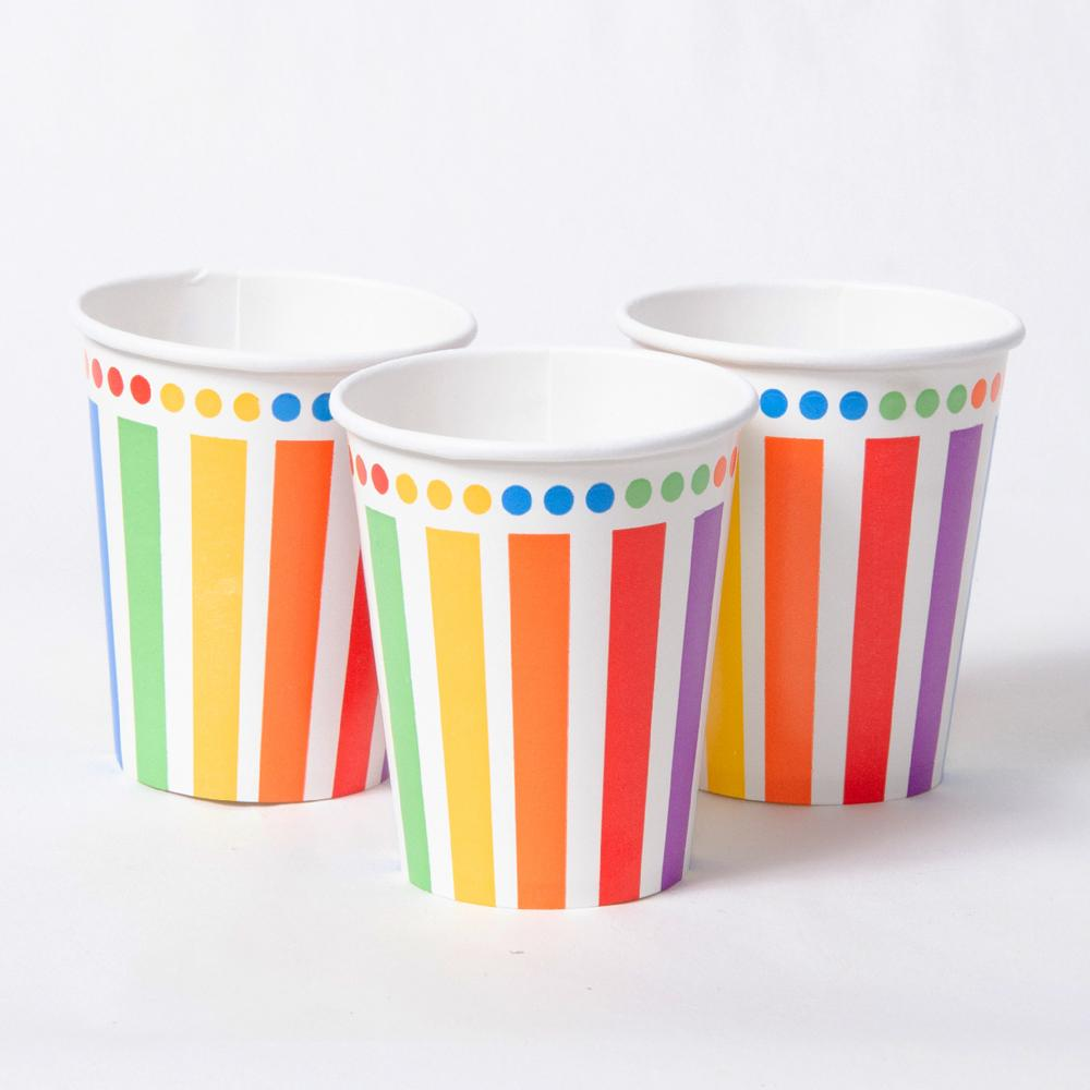 3 stripy rainbow-themed party cups