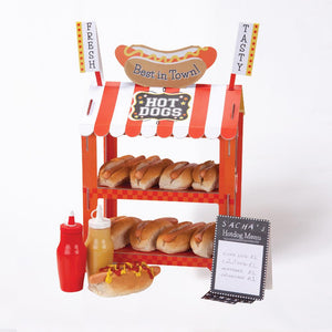 A red and white striped party stand hotdogs